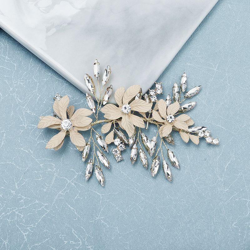 fashion retro  matte texture flower hair band horse eye glass rhinestone handmade headband bridal jewelry wedding hair clip wholesale NHHS216053