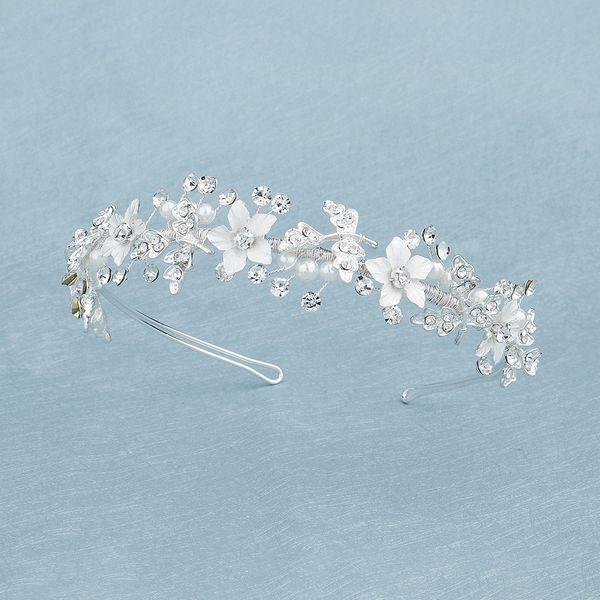 Korean simple  pearl handmade hair band alloy flower crown bride wedding  headdress nihaojewelry wholesale NHHS216054