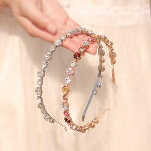 Korean colorful rhinestone  headband wild simple travel accessories  simple sweet pressure hair band nihaojewely wholesale NHHS216056's discount tags