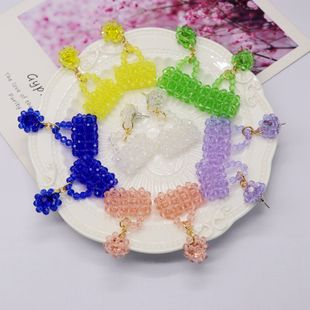Pure hand-woven color beads small bag earrings jewelry color wild personality earrings nihaojewelry wholesale NHOM216057's discount tags