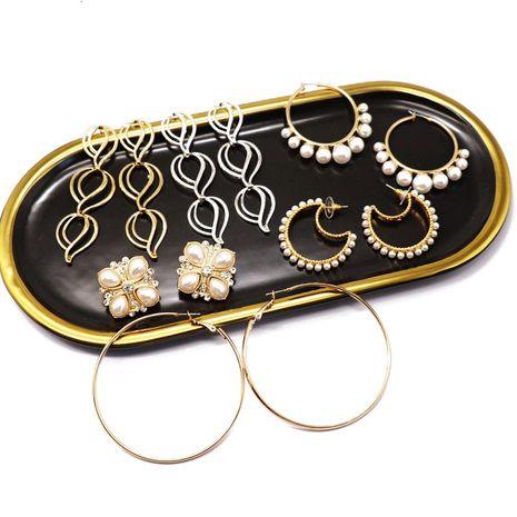 mode froid style bague en métal grandes boucles d'oreilles perles blanches boucles d'oreilles mode tempérament boucles d'oreilles sauvages nihaojewelry gros NHOM216059's discount tags
