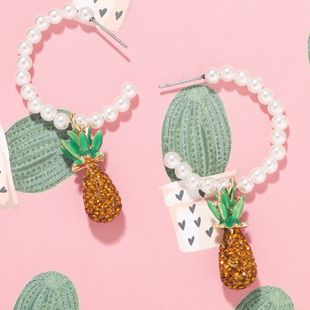 Korean fashion  fresh forest  wild pineapple pearl earrings wholesale NHJQ216066's discount tags