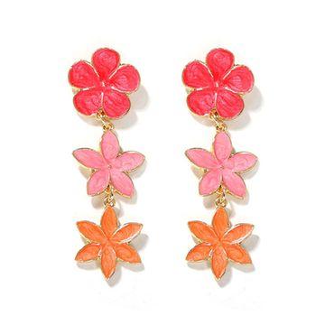 Venta caliente coreano verano pendientes florales pendientes niña corazón pequeña joyería al por mayor NHJQ216069