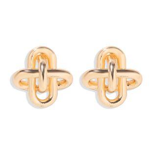 Korean fashion  ladies' temperament earrings creative three-dimensional design sense metal texture earrings wholesale NHJQ216077's discount tags