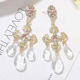hot-sale earrings retro palace wind drop-shaped transparent crystal earrings female Korean earrings wholesale NHJQ216079's discount tags