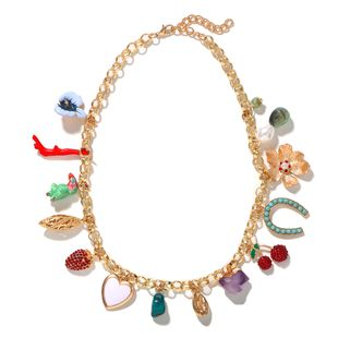 New fashion necklace Temperament Clavicle Chain Fresh  Flower Fruit Irregular Crystal Pendant colorful diamond Necklace wholesale NHJQ216087's discount tags