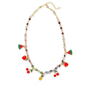 Korean fashion fresh wild clavicle chain pineapple fruit pendant with colored diamond necklace  wholesale NHJQ216088's discount tags