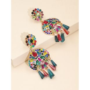 new fashion colorful diamond exaggerated geometric earrings fashion cold temperament earrings female nihaojewelry wholesale NHJJ216094's discount tags