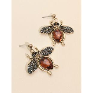 new alloy diamond earrings   hot selling bee insect earrings nihaojewelry wholesale NHJJ216101's discount tags