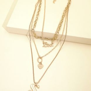 fashion new  personality exaggerated chain necklace multi-layer letter necklace  wholesale NHJJ216106's discount tags