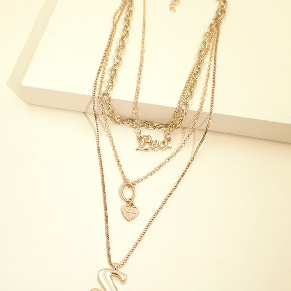 fashion new  personality exaggerated chain necklace multi-layer letter necklace  wholesale NHJJ216106