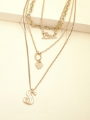 fashion new  personality exaggerated chain necklace multilayer letter necklace  wholesale NHJJ216106