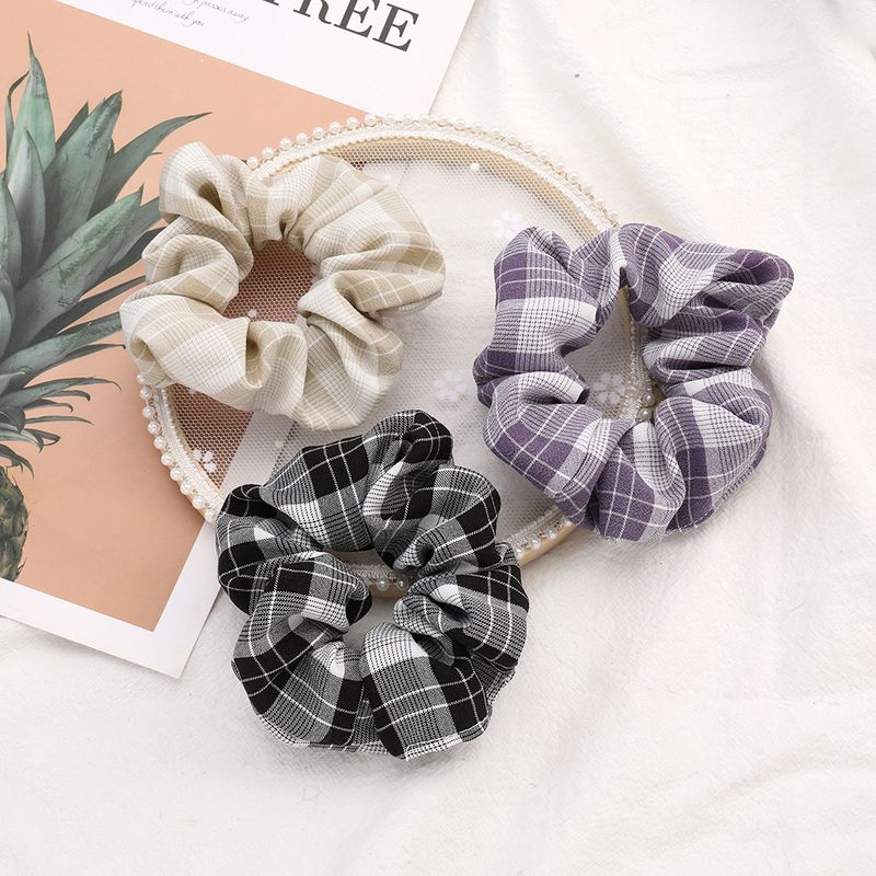 Korean fashion new  wind trend wild plaid fabric fabric hair circle female summer tie hair cheap scrunchies wholesale NHJE216111