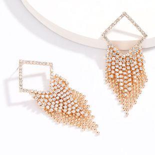 fashion new  exaggerated square alloy rhinestone diamond tassel earrings tide  earrings  wholesale NHJE216117's discount tags