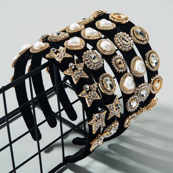 Korean fashion new  high-grade velvet multi-layer rhinestones inlaid pearl headband retro pressure hair band nihaojewelry wholesale NHLN216119