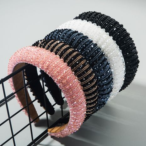 korean simple high-end sponge hairband simple wide-brimmed fashion hand-beaded  temperament headband nihaojewelry wholesale NHLN216120's discount tags