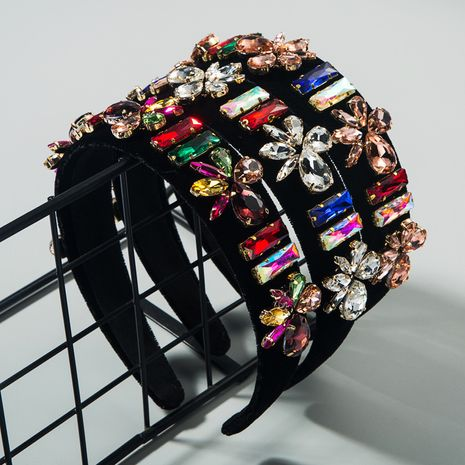 Baroque new high-grade flannel colorful rhinestone super flash hair hoop fashion trendy catwalk headband wholesale NHLN216122's discount tags