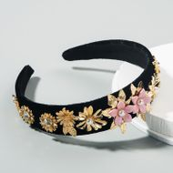 korean fashion  retro baroque velvet headband female diamond multi-layer flower pearl  boutique headband nihaojewelry wholesale NHLN216123