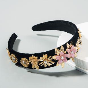 korean fashion  retro baroque velvet headband female diamond multi-layer flower pearl  boutique headband nihaojewelry wholesale NHLN216123's discount tags
