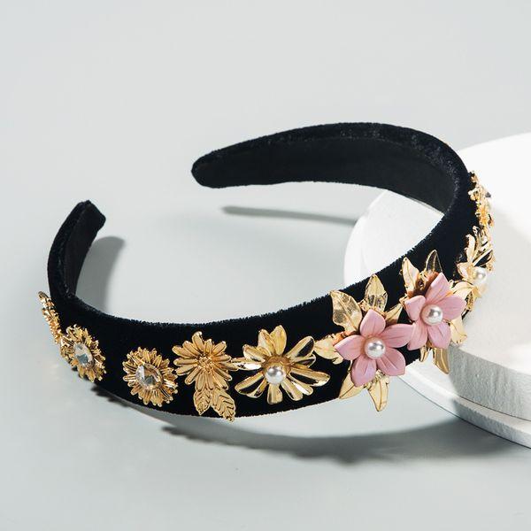 korean fashion  retro baroque velvet headband female diamond multi-layer flower pearl  boutique headband nihaojewelry wholesale NHLN216123