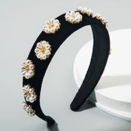 korean  retro palace style baroque luxury headdress headband rhinestone pearl flower velvet wide-brimmed headband nihaojewelry wholesale NHLN216124