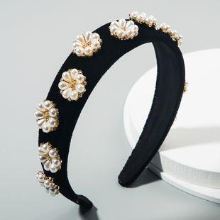 korean  retro palace style baroque luxury headdress headband rhinestone pearl flower velvet wide-brimmed headband nihaojewelry wholesale NHLN216124's discount tags