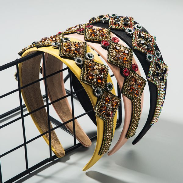 Korean new  fashion retro rhinestone hair hoop female wide-brimmed luxury satin headband  wholesale NHLN216127