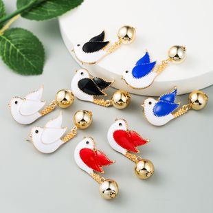 new  fashion cute bird earrings female alloy oil drop earrings and peace pigeon creative earrings  wholesale NHLN216128's discount tags
