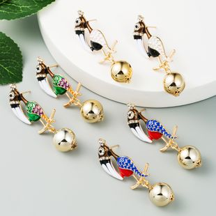 fashion  creative personality exaggerated earrings female alloy diamond-set animal metal round ball woodpecker earrings nihaojewelry wholesale NHLN216131's discount tags