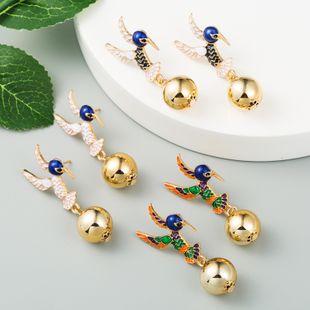 fashion new  alloy dripping oil creative creative earrings metal ball Korean  earrings fashion  earrings  wholesale NHLN216132's discount tags