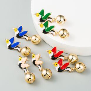hot earrings  fashion dripping oil white pigeon bird metal ball South Korea creative earrings ladies  earrings nihaojewelry wholesale NHLN216133's discount tags