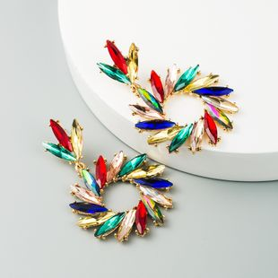 new fashion exaggerated   sun flower earrings alloy color rhinestone earrings temperament wild earrings nihaojewelry wholesale NHLN216134's discount tags