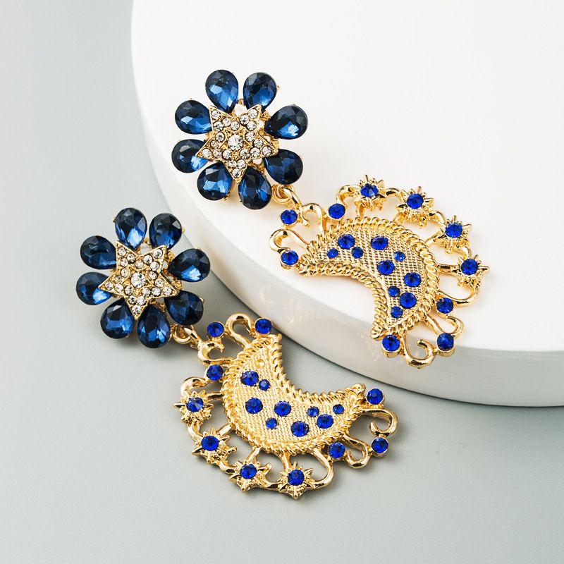 Korea fashion exaggerated sapphire earrings female alloy diamonds  stars moon earrings nihaojewelry wholesale NHLN216135