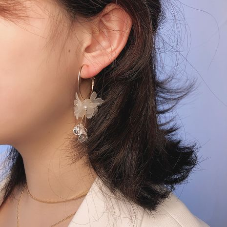 Korea popular fashion new  white crystal earrings  round flower long pearl earrings nihaojewelry wholesale NHMD216141's discount tags