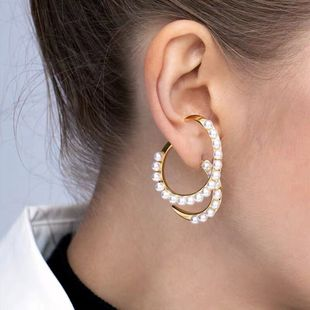 fashion new  personality creative pearl earrings  geometric spiral cross alloy earrings nihaojewelry wholesale NHMD216142's discount tags