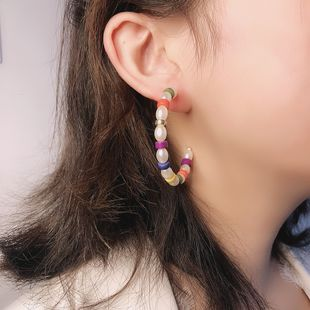 fashion new  bohemian ethnic wind resin earrings fashion holiday style geometric large C-shaped earrings nihaojewelry wholesale NHMD216143's discount tags