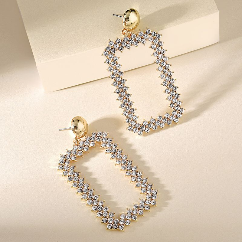 Korean  fashion temperament hollow geometric square full diamond earrings new product creative simple earrings nihaojewelry wholesale NHMD216145
