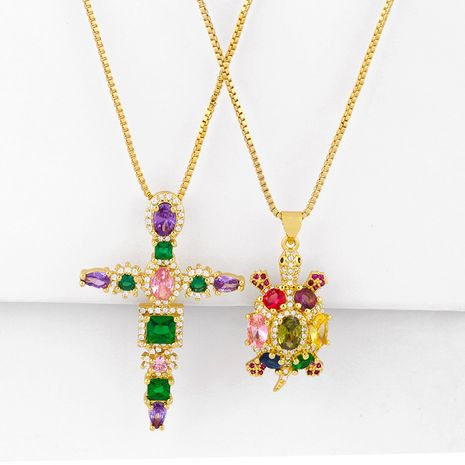 fashion colorful zircon copper necklace wholesale accessories small turtle necklace colorful zircon cross necklace pendant jewelry NHAS216148's discount tags