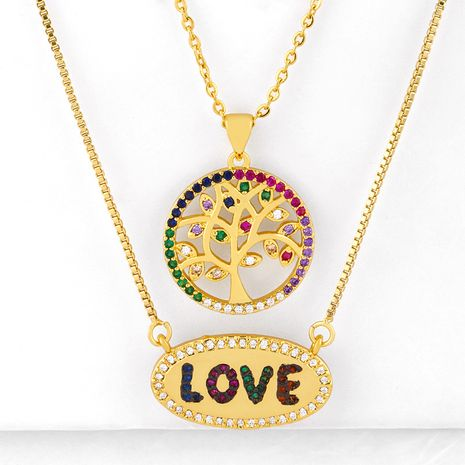 Cross-border new accessories love necklace diamond pendant life tree necklace couple 520 necklace wholesale nkq72 NHAS216151's discount tags