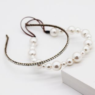 New fashion simple  pearl rhinestone double hair accessories party street photo headband nihaojewely wholesale NHWJ216166's discount tags