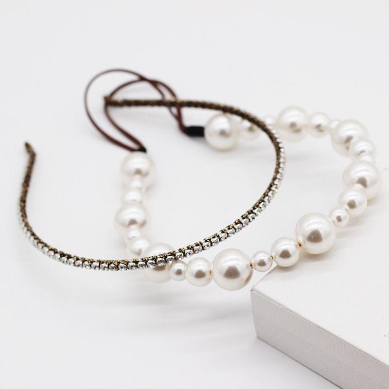 New fashion simple  pearl rhinestone double hair accessories party street photo headband nihaojewely wholesale NHWJ216166