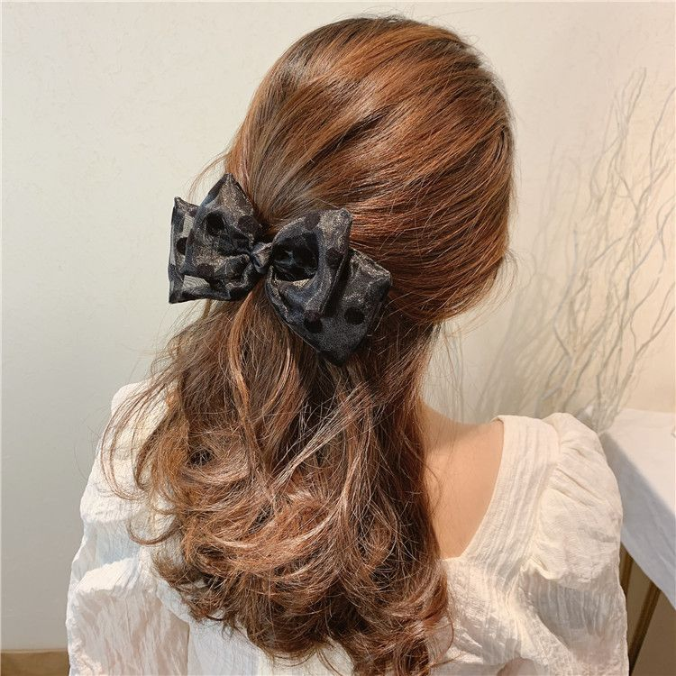 Korean spring  hair clips  yarn black bow wave point  hair head rope girl hair ring spring clip nihaojewelry wholesale NHSA216171