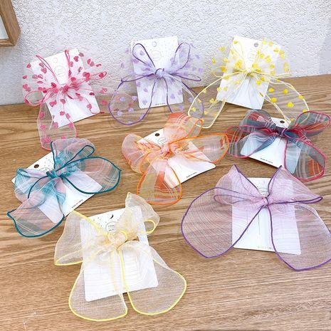 Rayures coréennes pour enfants contraste couleur grand arc en épingle à cheveux femelle bébé brillant amour noeud papillon en épingle à cheveux côté clip NHSA216172's discount tags