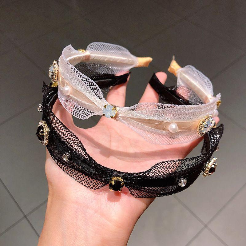 Banda de pelo de presin de moda coreana aro de pelo de perlas de diamantes seoras sinuosas diadema lavado cara banda de pelo temperamento accesorios para el cabello nihaojewely al por mayor NHNA216190