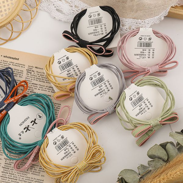 Korean fashion simple scrunchies color high elastic nylon rubber band girl tie hair hair rope basic hair ring set wholesale NHNA216197