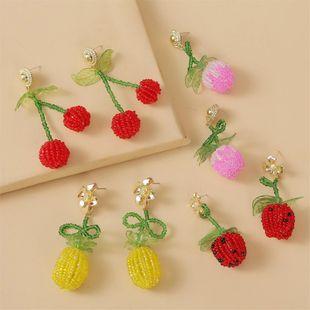 Korean cute fruit cherry handmade rice beads earrings female creative personality  resin earrings nihaojewelry wholesale NHLA216207's discount tags