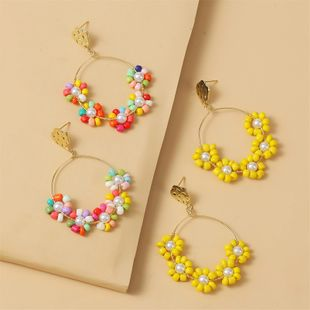 Korean flowers handmade beads earrings female  geometric woven acrylic earrings jewelry nihaojewelry wholesale NHLA216208's discount tags