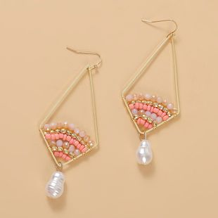 Bohemian diamond pearl pearl beads earrings  creative hand-woven geometric earrings jewelry nihaojewelry wholesale NHLA216209's discount tags