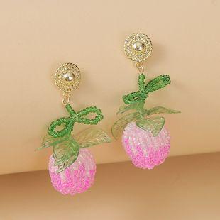 Korean cute  peach fruit plate rice bead earring female bohemian trend hand-woven earring jewelry nihaojewelry wholesale NHLA216211's discount tags