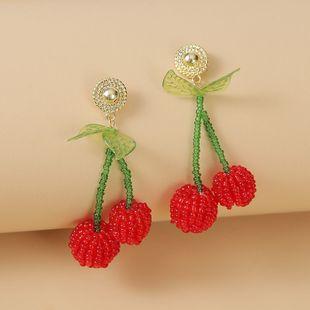 fashion cute  creative handmade red glass rice beads cherry earrings  Korean personality cute fruit earrings jewelry nihaojewelry wholesale NHLA216212's discount tags